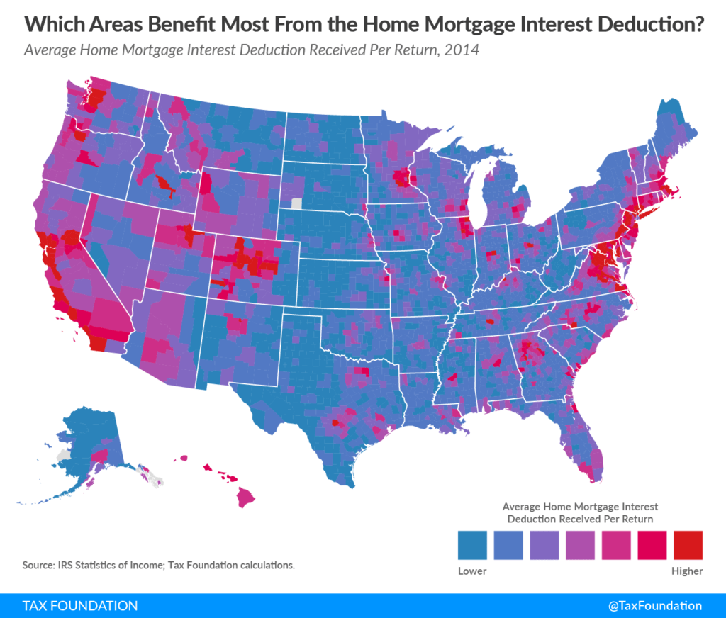 Tax reform and real estate: Map of mortgage interest deduction by county